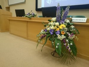 Президиум, МНТК, главный зал, живые цветы :-)